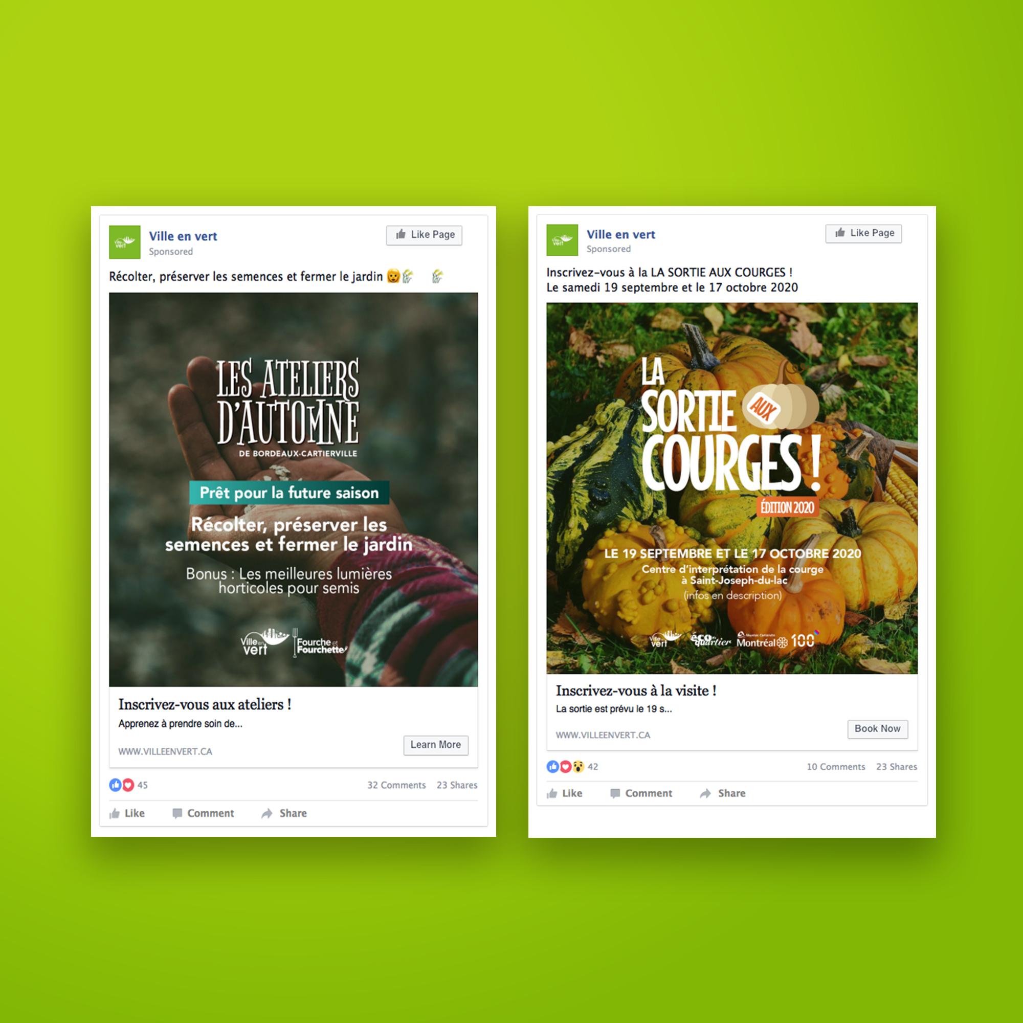 Sélection de publications · Facebook de Ville en vert
